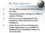 iii basic argument