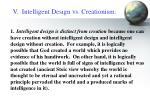 v intelligent design vs creationism