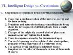 vi intelligent design vs creationism