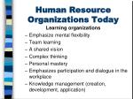 human resource organizations today