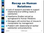 recap on human relations