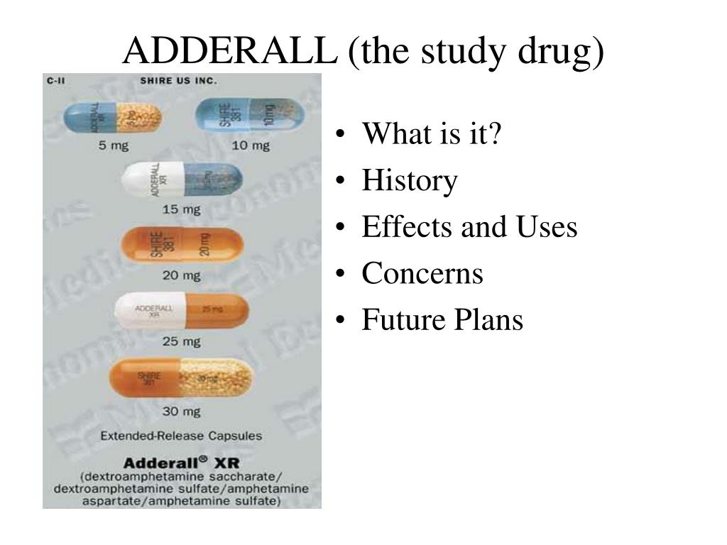 adderall the study drug l.