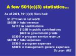 a few 501 c 3 statistics