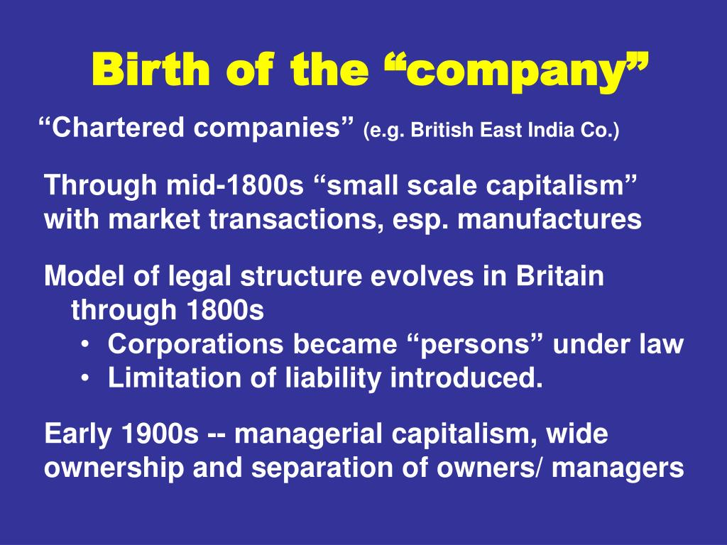 "Birth of the ""company"""