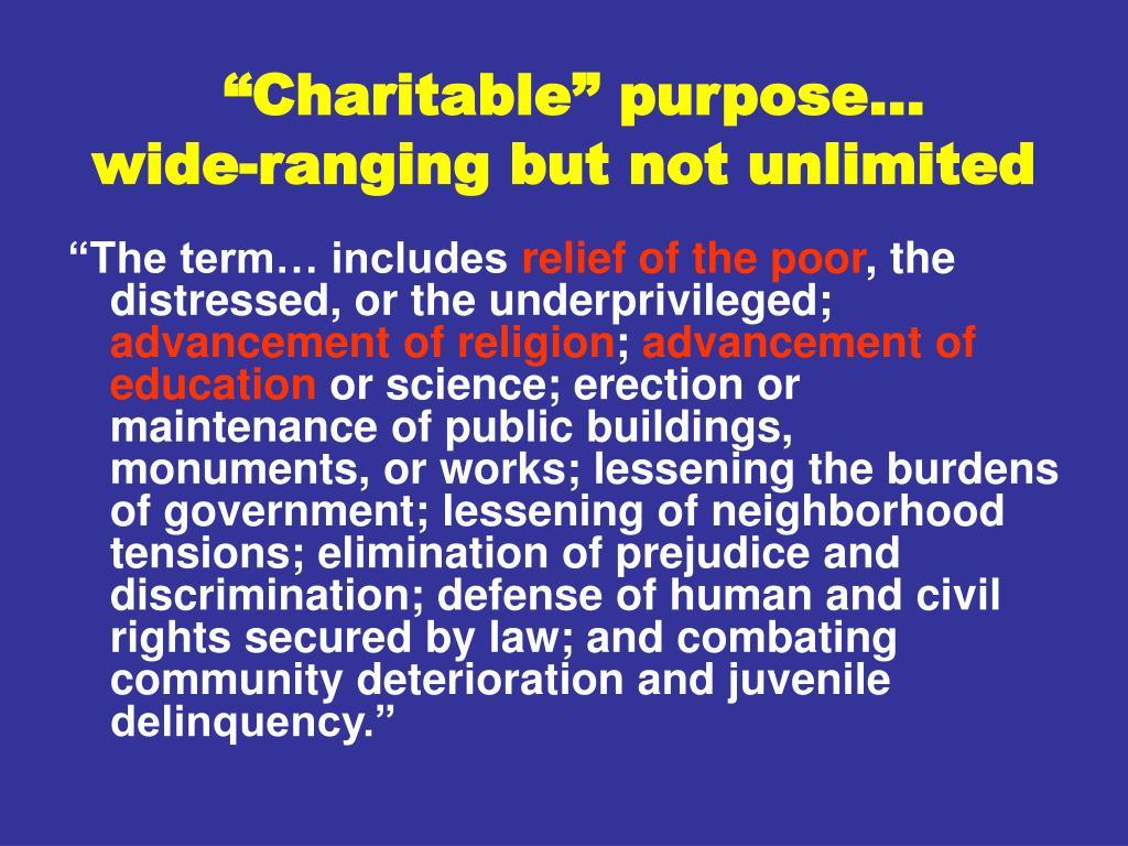 """""""Charitable"""" purpose…"""
