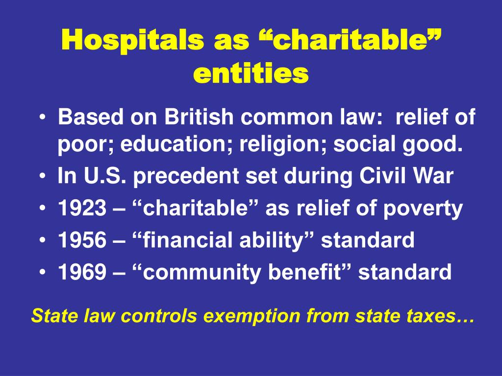 """Hospitals as """"charitable"""" entities"""