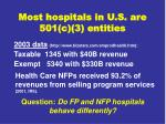 most hospitals in u s are 501 c 3 entities