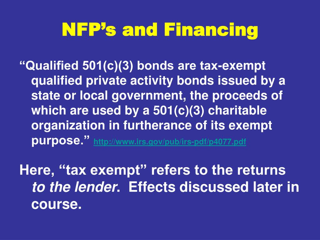 NFP's and Financing