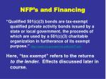 nfp s and financing
