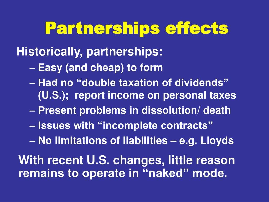 Partnerships effects