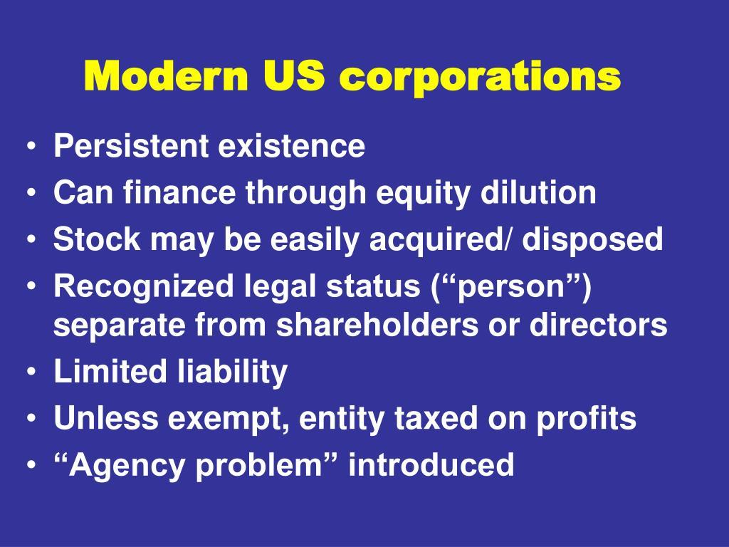 Modern US corporations