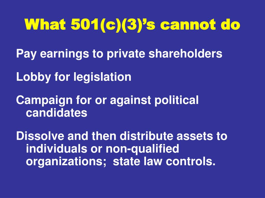 What 501(c)(3)'s cannot do