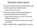 solving for wave speed
