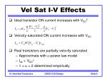 vel sat i v effects