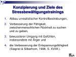 konzipierung und ziele des stressbew ltigungstrainings