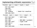implementing arithmetic expressions129