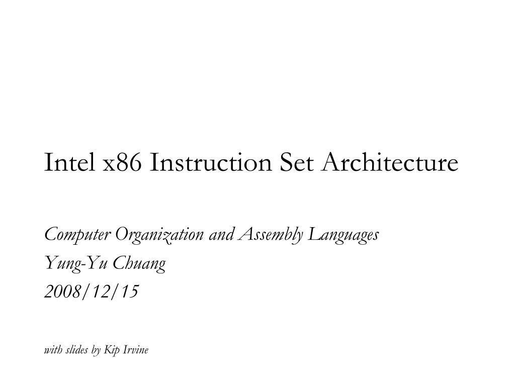 intel x86 instruction set architecture l.