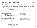 table driven selection94
