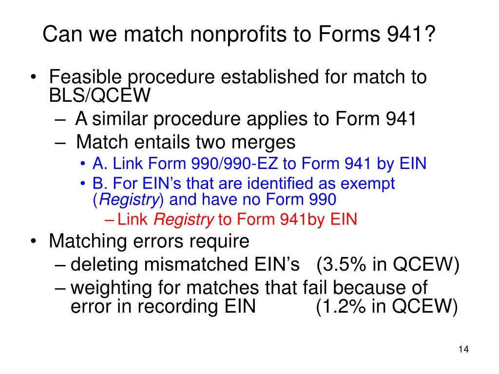Can we match nonprofits to Forms 941?