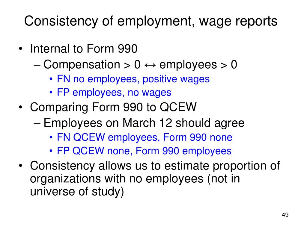 Consistency of employment, wage reports