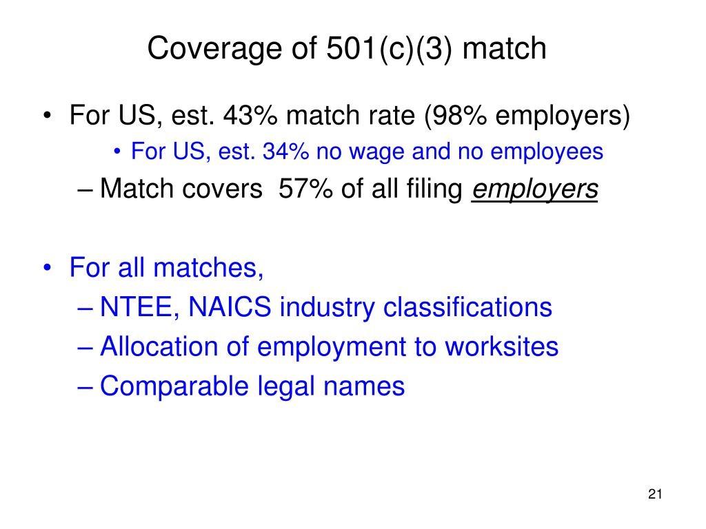 Coverage of 501(c)(3) match