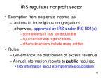 irs regulates nonprofit sector