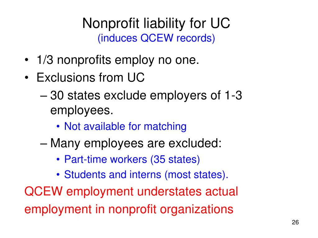 Nonprofit liability for UC
