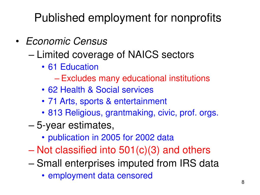 Published employment for nonprofits