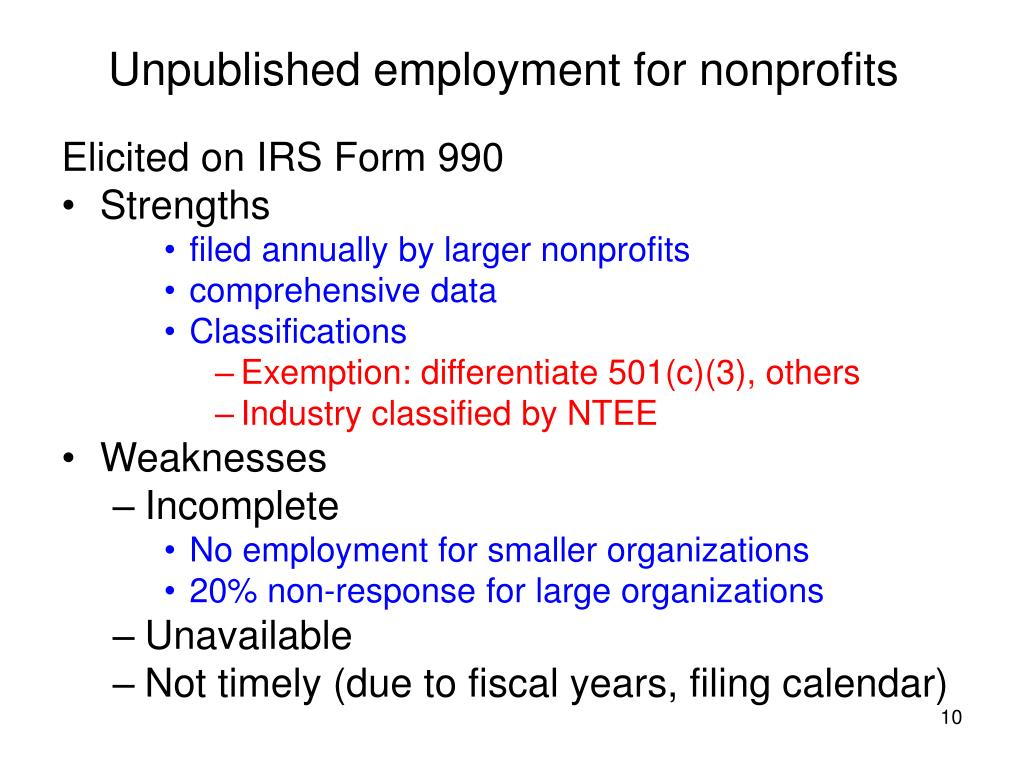 Unpublished employment for nonprofits