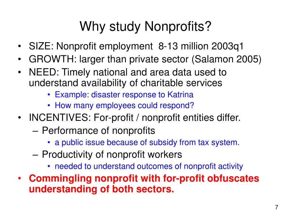 Why study Nonprofits?