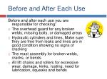 before and after each use