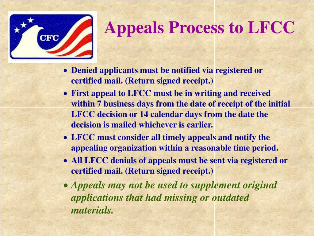 Appeals Process to LFCC