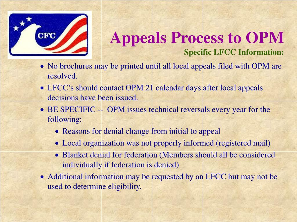 Appeals Process to OPM