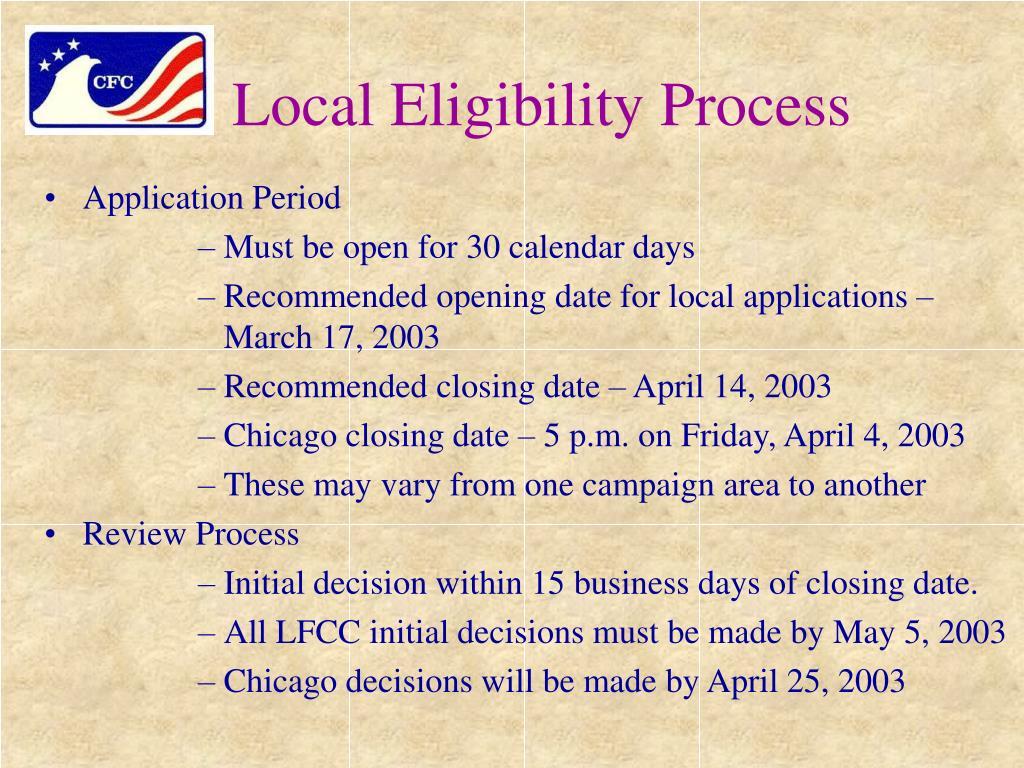 Local Eligibility Process