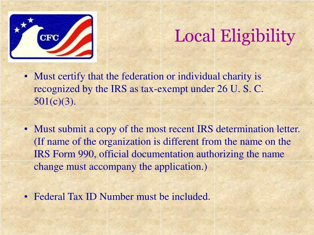 Local Eligibility