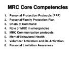 mrc core competencies
