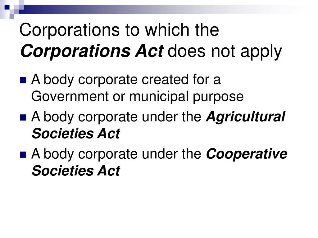 Corporations to which the