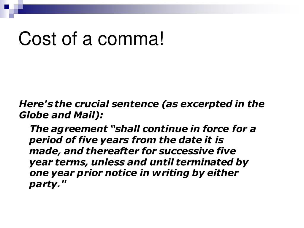 Cost of a comma!