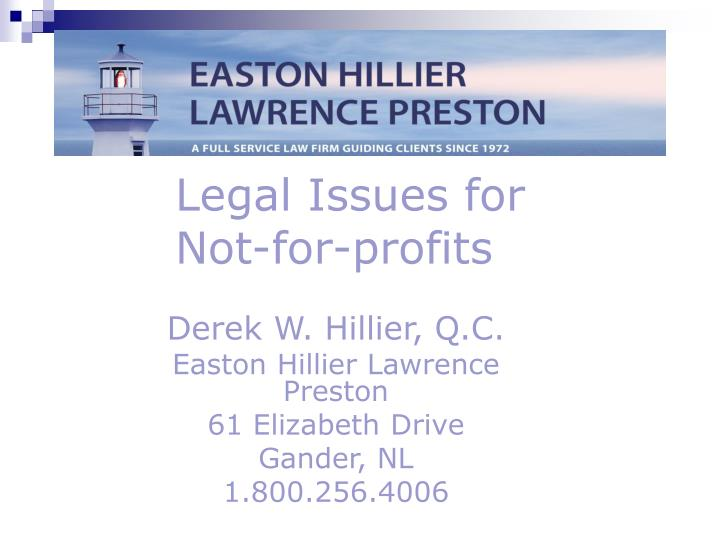 Legal issues for not for profits