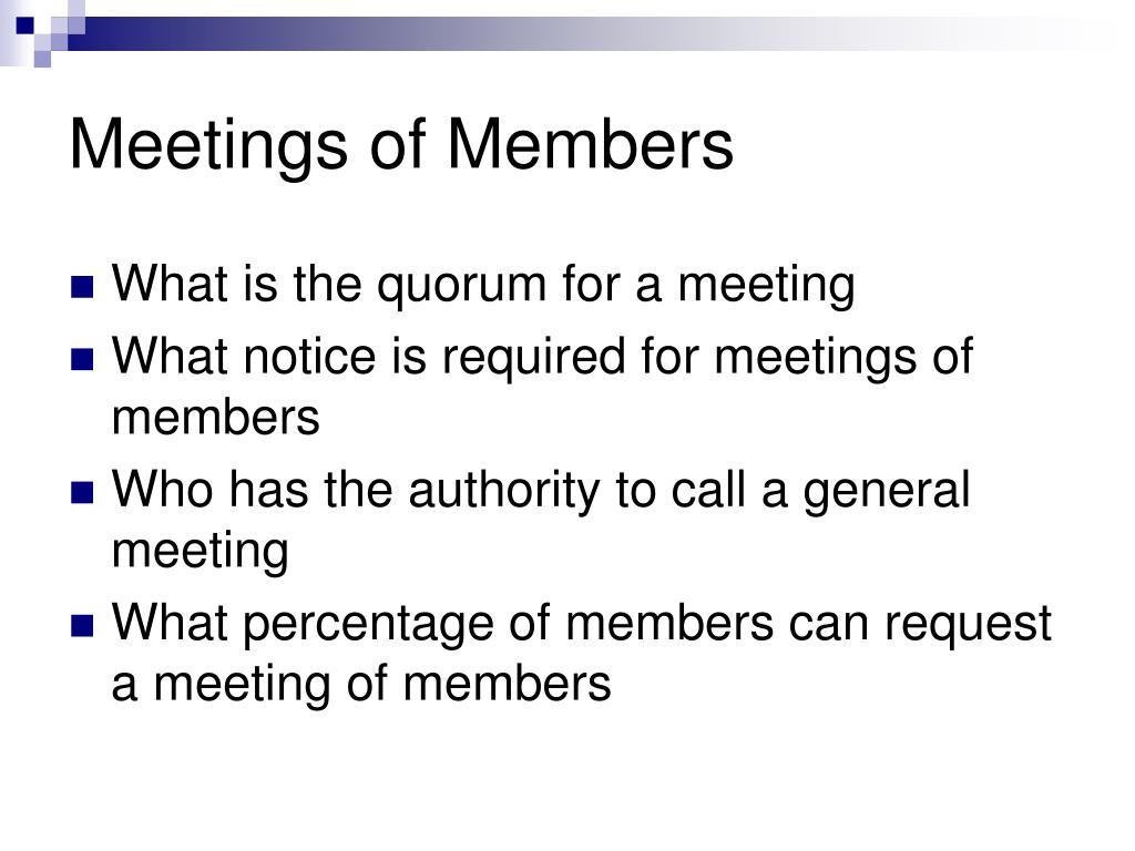 Meetings of Members