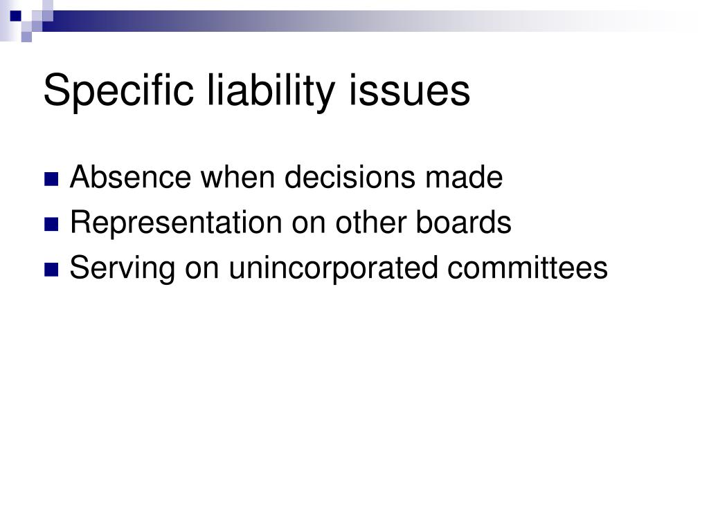 Specific liability issues