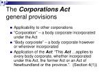 the corporations act general provisions