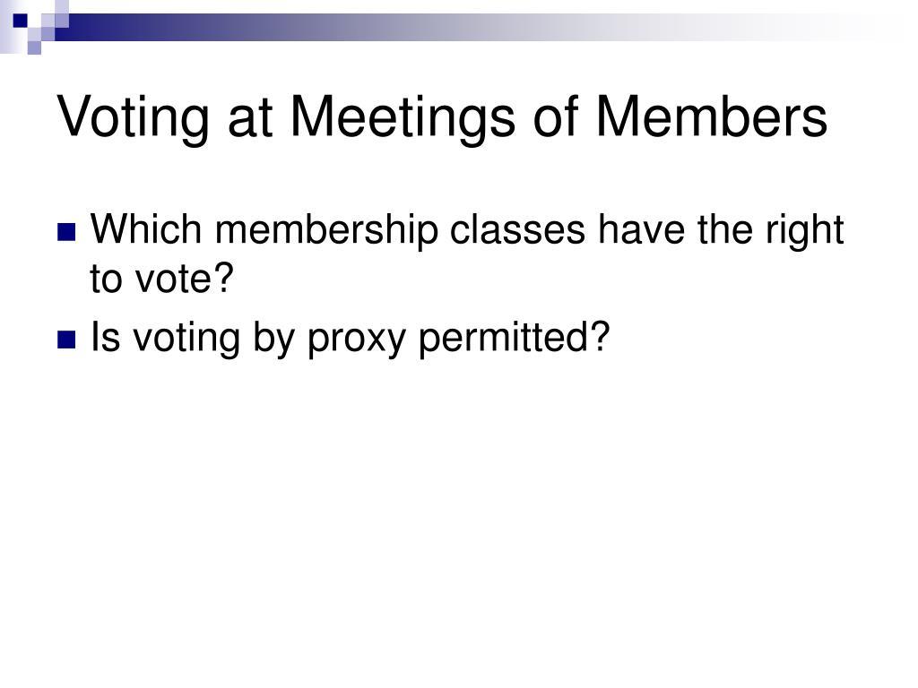 Voting at Meetings of Members