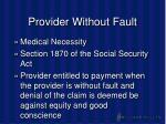 provider without fault