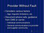 provider without fault43