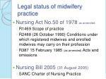 legal status of midwifery practice