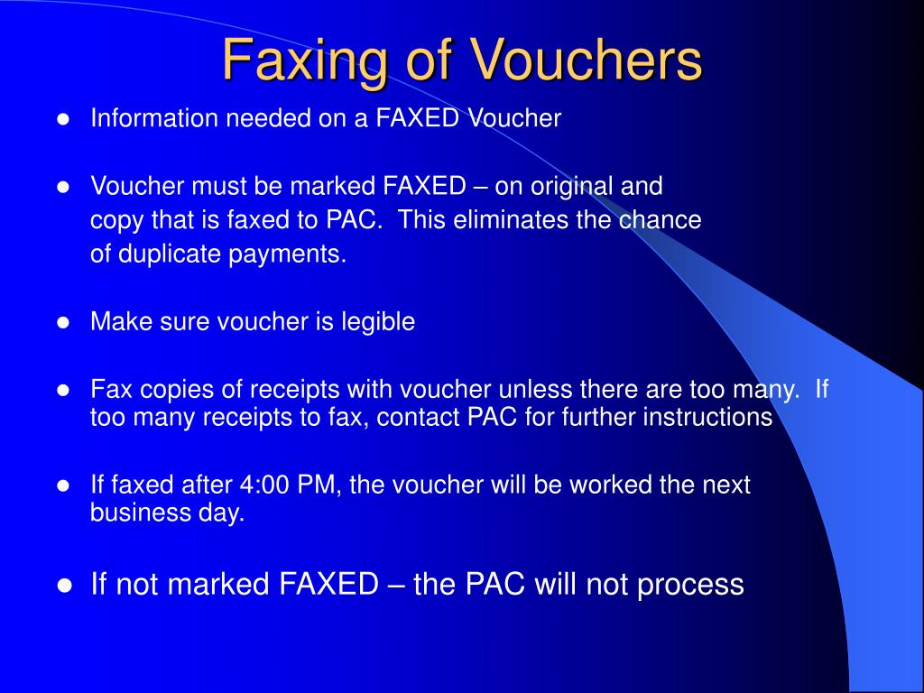 Faxing of Vouchers