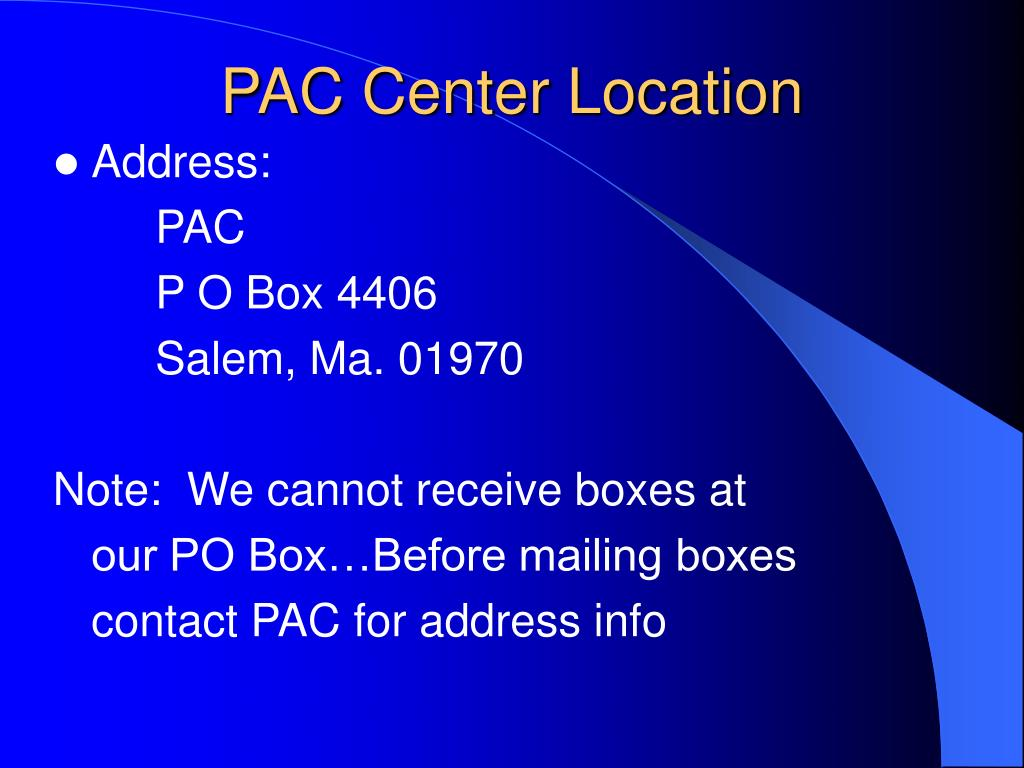 PAC Center Location