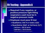 fit testing appendix a
