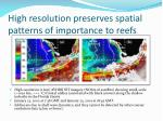 high resolution preserves spatial patterns of importance to reefs